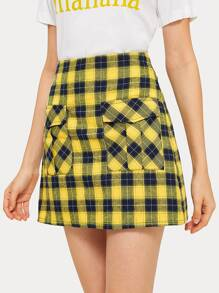 Tartan Print Dual Flap Pockets Skirt