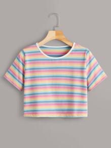 Colorful Stripe Print Ringer Tee