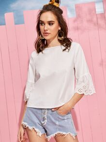 Flounce Sleeve Eyelet Embroidered Blouse