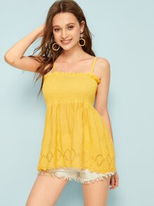 Eyelet Embroidery Shirred Peplum Cami Top