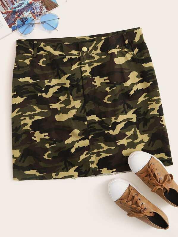 4849f094aa725 Plus Camo Print Denim Skirt | SHEIN