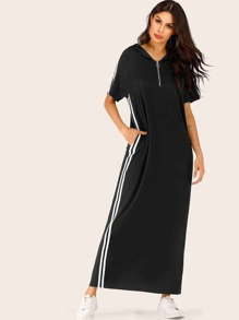 Zipper Contrast Striped Maxi Hooded Dress