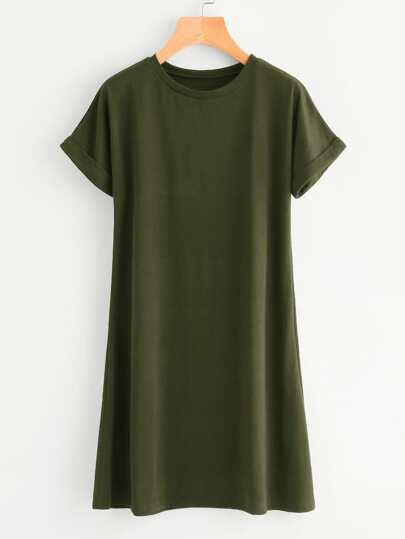 Plus Rolled Cuff Tee Dress