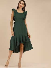High Low Tiered Layer Frill Dress