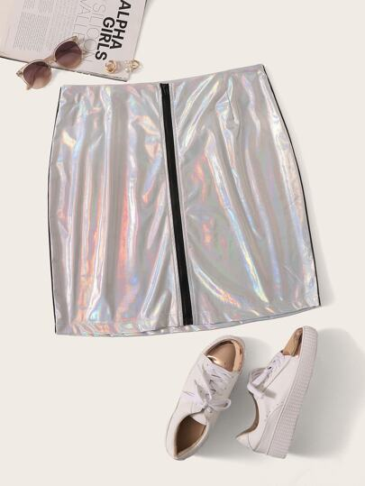 Plus Zip Up Metallic Skirt