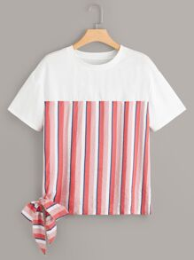Plus Contrast Striped Knot Side Tee