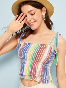 Striped Shirred Tiered Layer Cami Top