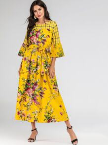 Floral & Plaid Print Flounce Sleeve Belted Maxi Dress