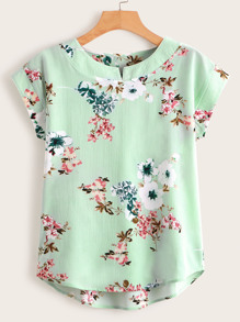 Floral Print High Low Blouse