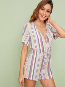 Striped Surplice Front Drawstring Waist Playsuit