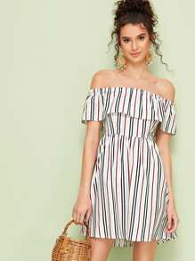 Ruffle Trim Striped Off Shoulder Dress