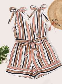Plus Surplice Striped Belted Cami Playsuit