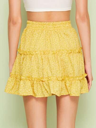 f1a40846e9 Home · Bottoms · Skirts; Ditsy Floral Drawstring Waist Frill Trim Skirt