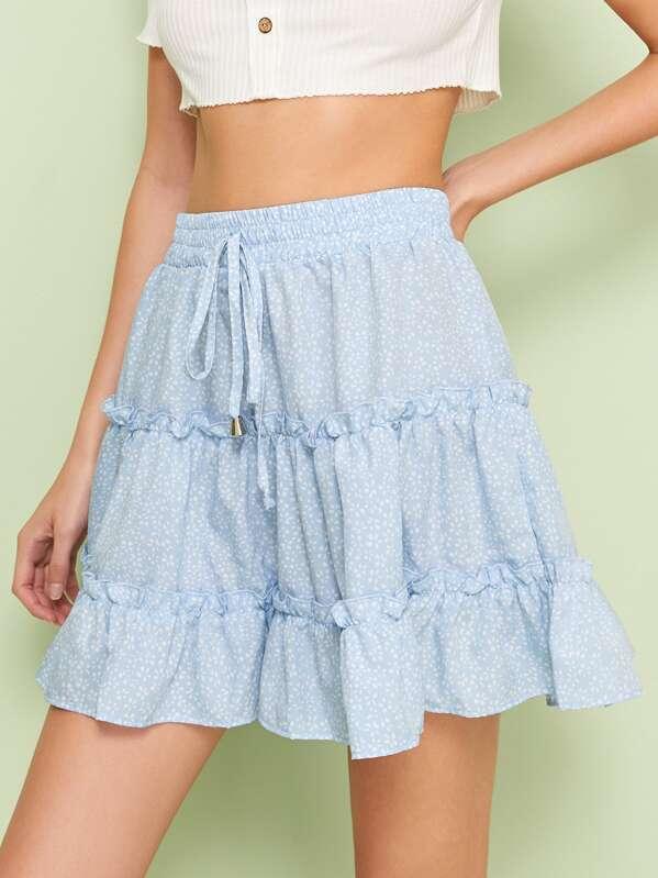 ee00ef6145 Ditsy Floral Drawstring Waist Frill Trim Skirt | SHEIN