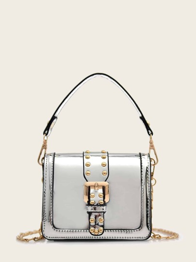 Studded Buckle Decor Satchel Bag