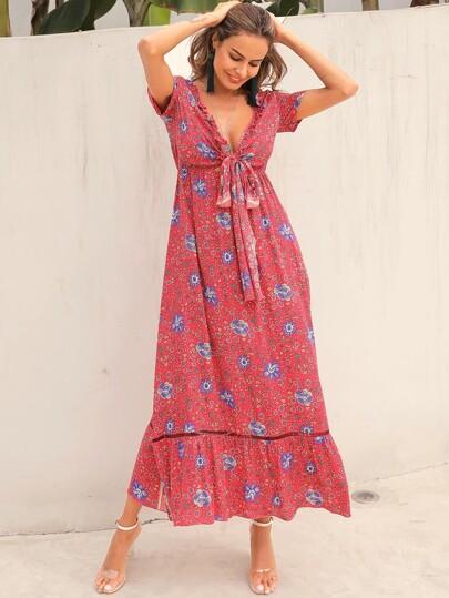758614e2b Vestido maxi con cordón delantero floral de margarita tribal
