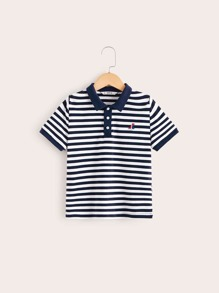 Boys Boat Embroidered Striped Polo Shirt