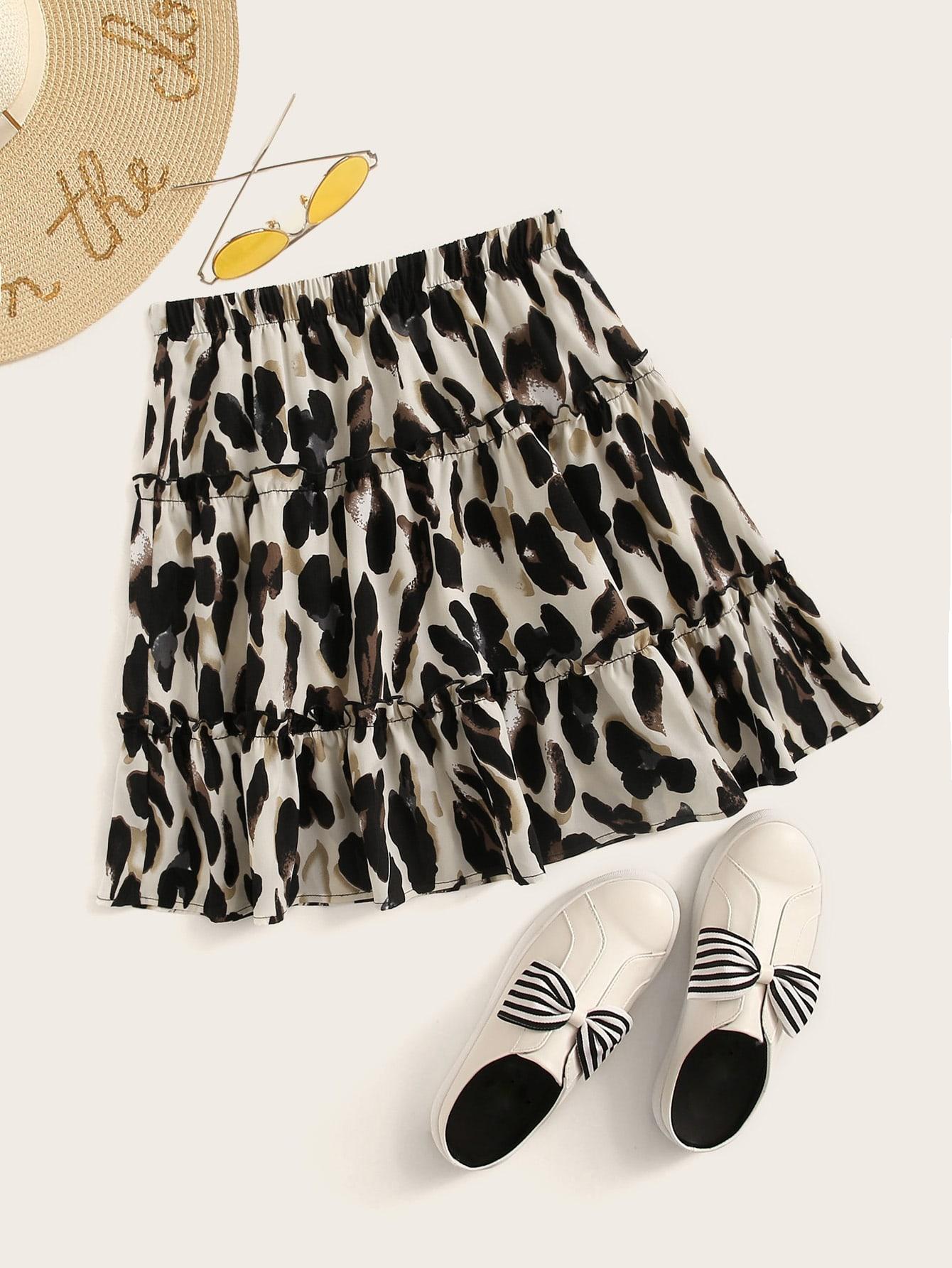 Leopard Print Lettuce-Edge Mini Skirt thumbnail
