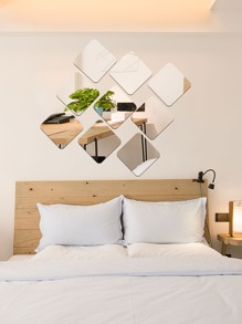 Large Square Wall Mirror Sticker 9pcs