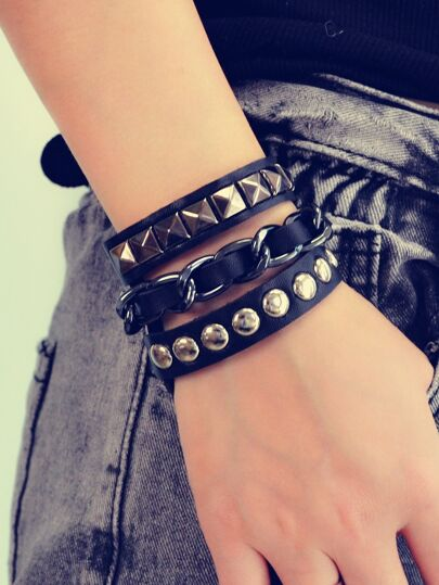Pu Leather Spikes Wrap Bracelets
