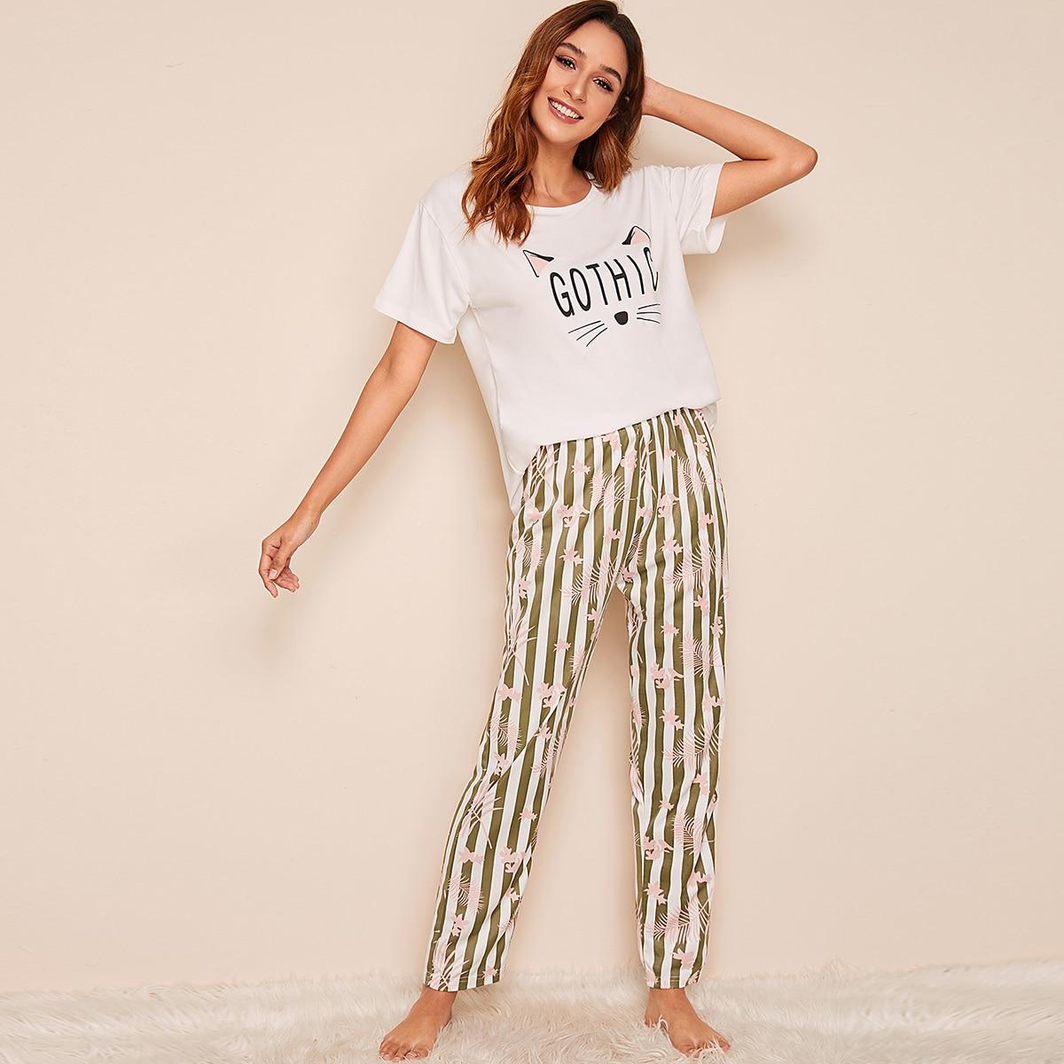 Пижама в полоску с графическим принтом