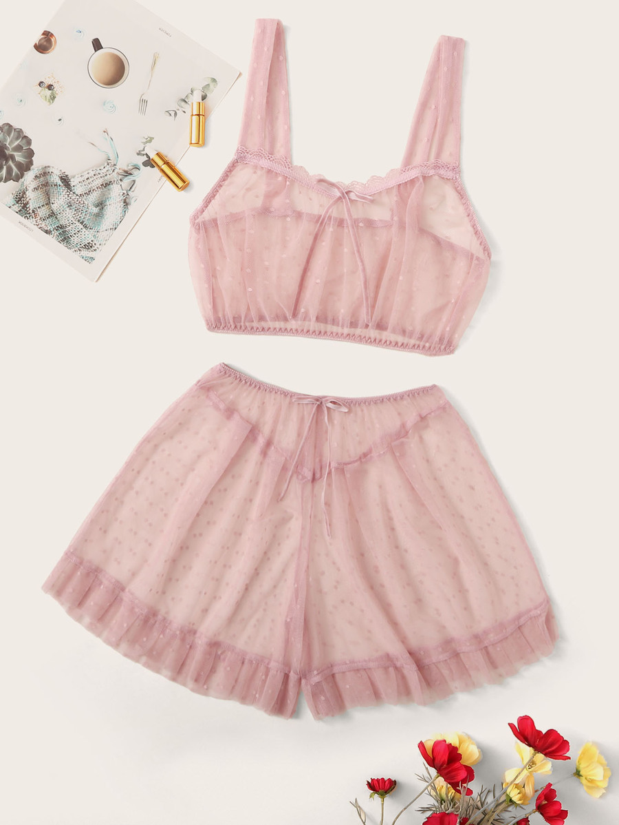 polka-dot-mesh-ruffle-hem-sheer-lingerie-set by shein