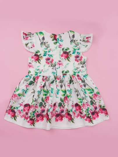 Toddler Girls Lace Panel Floral Print Dress