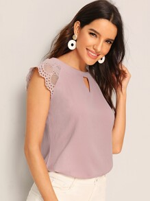 Contrast Lace Cuff Keyhole Neck Blouse