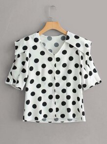 Polka Dot Middy Collar Blouse