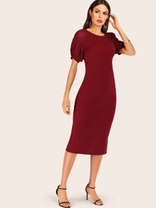 Contrast Eyelet Embroidery Sleeve Bodycon Dress