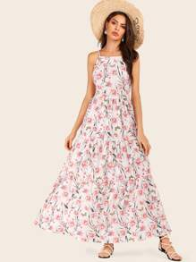 Ditsy Floral Shirred Maxi Cami Dress