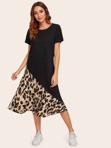 Contrast Leopard Print Tee Dress