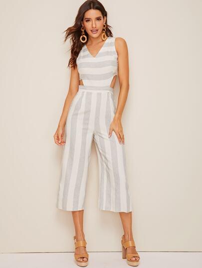 5c57543936 Cut-out Waist Stripe Wide Leg Jumpsuit