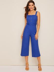 Button Front Belted Tank Jumpsuit