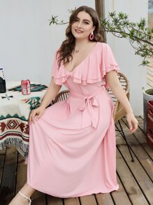 Plus Ruffle Trim Belted Plunging Neck Dress