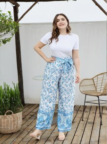Plus Ditsy Floral Print Belted Wide Leg Pants