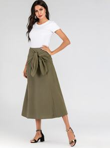 Tie Front Zip Back Midi Skirt