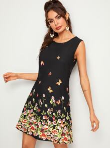 Butterfly & Floral Print Sleeveless Trapeze Dress
