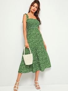 Polka-dot Print Shirred Fit & Flare Slip Dress