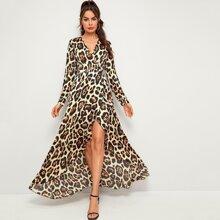 Leopard Print Surplice Neck Wrap Maxi Dress