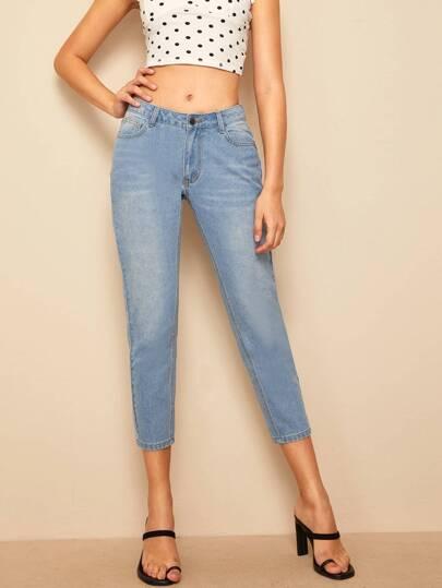 8b399982a6ab5 سروال جينز مغسل باهت وبتفاصيل مدروز