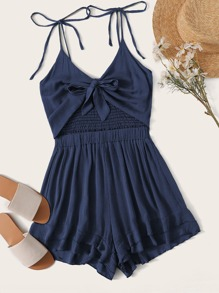 Tie Front Shirred Layer Ruffle Hem Cami Playsuit