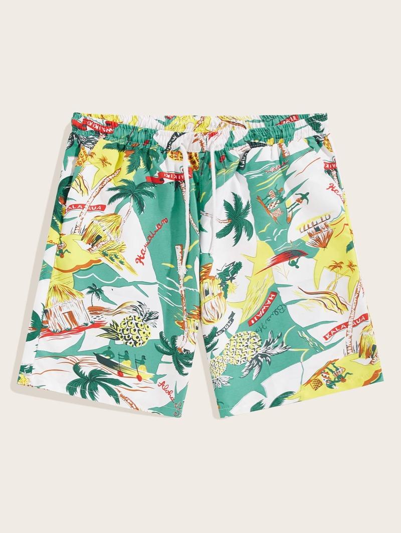 La Imprimé Cordon Short À Hawaïen Tropical Avec Taille e2DHYb9WIE