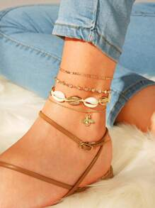 Bee & Shell Detail Chain Anklet 4pcs