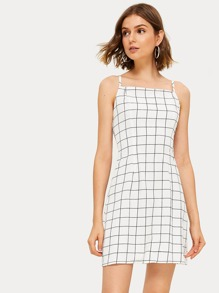 Grid Plaid Print Sheath Slip Dress
