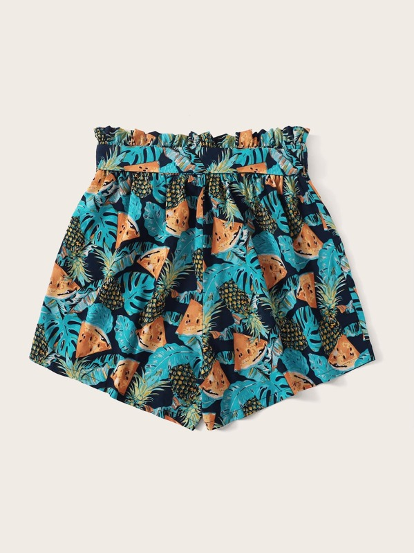 44f39143233f Plus Paperbag Waist Tropical Print Belted Shorts | SHEIN IN