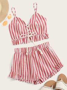Shirred Back Lace Up Front Striped Top & Shorts Set