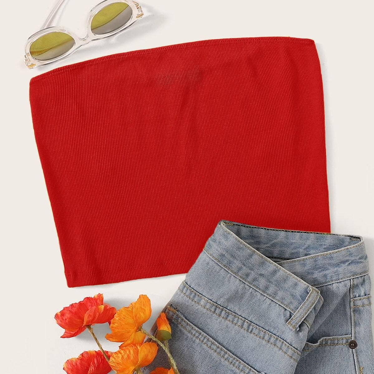 Красный Трикотажный Топ-Бандо