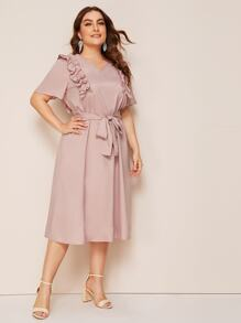 Plus V Neck Frill Trim Belted Tunic Dress