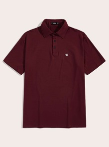 Men Embroidered Crown Polo Shirt